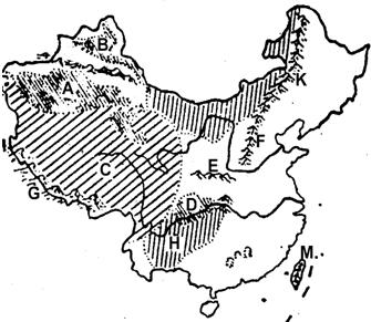 """读""""中国地形分布空白图""""回答"""