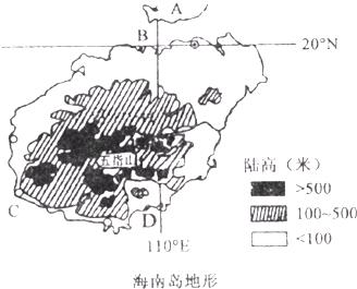读海南岛地形图,联系学过的知识,回答下列问题