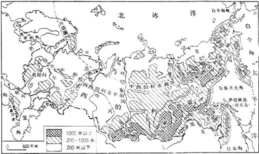 读俄罗斯地形图,回答7~13小题.
