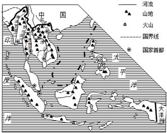 读中南半岛地形,河流与城市分布图,回答3-5题.