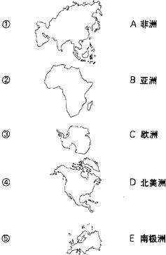 将图中各大洲名称与相应的轮廓用直线连接起来