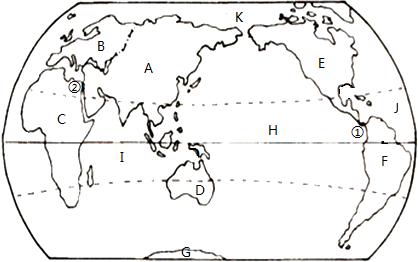 读七大洲,四大洋分布图,完成下列题目
