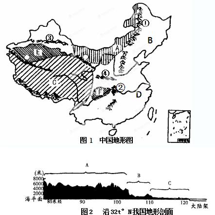 """读""""中国地形图""""和""""沿32°n我国地形剖面图"""",回答"""