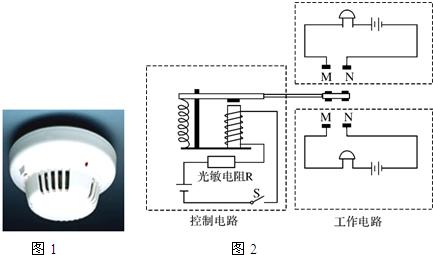 """该报警器由""""控制电路""""和""""工作电路""""所组成,其中""""控制电路""""由光敏电阻r"""