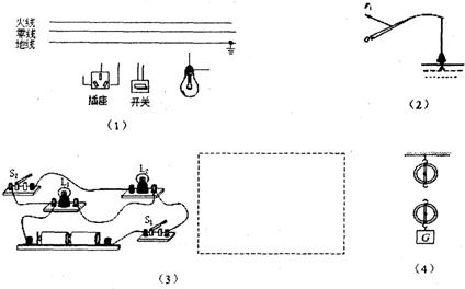 (1)如图(1)所示的插座和电灯(带开关)是组成家庭电路
