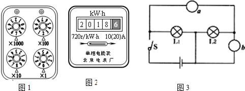 电流表,b为 电压表 电压表【考点】电路图及元件符号;变阻器;电能表