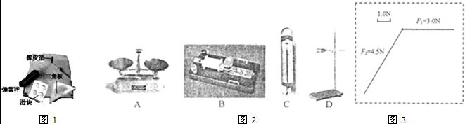 A.两根细绳必须等长 B.弹簧秤在使用前应较零 C.弹簧秤、细绳、橡皮条都应与木板平行 D.橡皮条应与两绳夹角的平分线在同一直线上 (3)用作图法求两分力的合力,小王同学已选好标度,画出两分力的方向,如图3所示,请你把余下的作图完成.