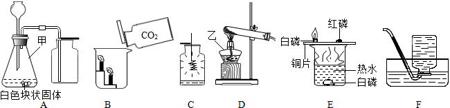 【解答】解:依据实验常用仪器的认解决此题答案为甲是锥瓶,乙是酒灯; 故案为: 丝在氧气中时火星四,放出大量热量成黑色固体,为了防止高温生物溅落炸裂瓶,要集气里放入少量水沙子; 图中气发生装置有一处明显错误是长颈漏下端应该伸入液面以气体会长漏斗出;装置适用制取二氧化碳,反应化学方程式CaCO3+2HlCaCl2CO2+O;能用发生装置D制备用装F的见氧气,高锰酸钾分解制取氧气,化学式为2; 锥形瓶,精灯; 颈漏斗下端应该伸入液面以,aCO+2HC=Cal2+CO22O,O; ,放一些水或子; 向烧中倾倒二