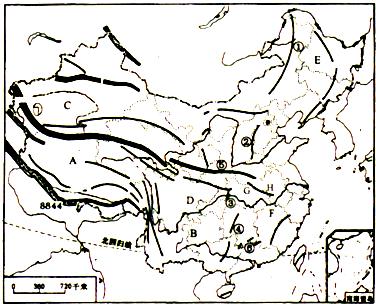 """读""""中国山脉分布图"""",完成下列各题."""