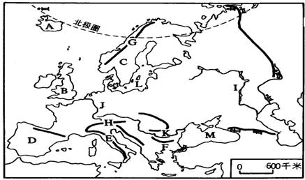 读欧洲地图,回答问题填出图中地理事物的名称:a (岛屿