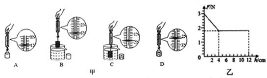 【分析】(1)要先测物块的重力和空桶的重力,然后再把物块没入水中,测出物块受到的浮力,最后再测出桶和溢出水的重力;分析几步实验的相同因素和不同因素,就可知道这几步是探究哪个因素对浮力的影响,并根据测力计示数计算出每步浮力的大小,从而得出结论. (2)乙图中物体已全部浸入了水中,所以弹簧测力计的示数应读随h的增大F不变的一段的示数,利用称重法可计算出此时物体所受的浮力; 由图可知弹簧测力计的示数有一段随h的增大而不变,可总结出物体所受浮力与深度的关系. (3)根据图乙分别确定物体的重力和完全浸没时的拉力,求