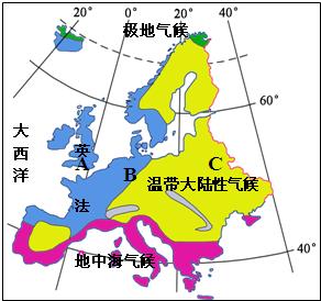 材料三:欧洲西部气候类型分布示意图.