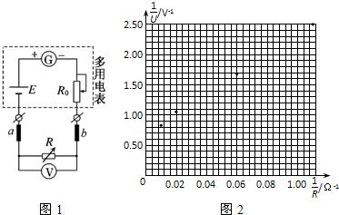 b上,欲用图示的电路测量多用电表内部的电阻r(远小于电压表v的内阻)和
