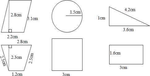 2×2.8=6.16(平方厘米) 圆的周长:3.14×2×1.5=9.