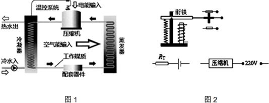 (5)图2所示的电磁继电器电路是空调热水器的温控系统原理图.