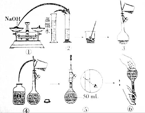 所示的步骤配制50ml,一定物质的量浓度的naoh溶液