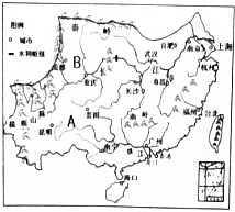 读我国南方地区图,回答下列问题. 1 A地形区在温暖湿润的环境下, 分布广泛,形成特殊的地貌. 2 冬季,B所在的盆地比长江中下游平原地区温暖,造成这种现象的主要原因是