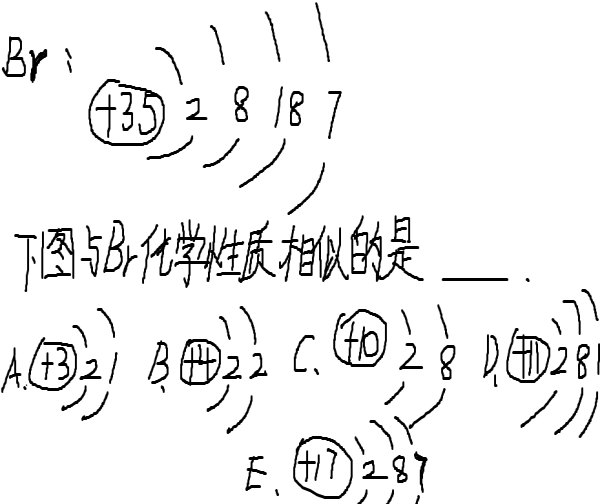 解答:解:(1)原子中核内质子数等于核外电子数,即:35=2+8+18+X,所以X=7;在汉字中带钅字旁(汞和金除外)属于金属元素,其它属于非金属元素;所以溴属于非金属; (2)最外层电子数是8(一个电子层的是2)属于相对稳定结构;所以C属于相对稳定结构,决定元素化学性质的是最外层电子数,所以与溴元素最外层电子数相等的是化学性质相似. 故答案为:(1)7;非金属;(2)C;E.