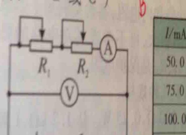 利用电压表和电流表测一节干电池的电动势E和内阻r,图中R1为粗调滑动变阻器,R2为微调变阻器,现有滑动变阻器A(10欧,1A)B(500欧,0.5A),C(500欧,0.1A)那么本次实验中,滑动变阻器R1应选----,R2应选------(填A、B、C) 答案是B、A,为什么是BA而不是AB